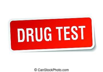 prueba de la droga, cuadrado, pegatina, blanco