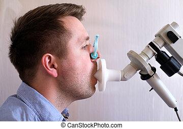 prueba, función, respiración, hombre, spirometry, joven