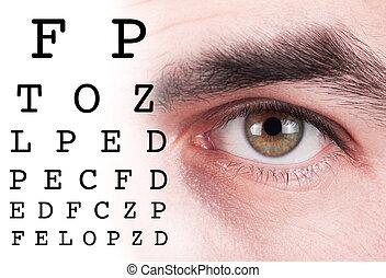 prueba, ojo, gráfico,  visión