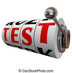 prueba, palabra, máquina ranura, ruedas, diales, examen,...