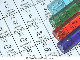 prueba, serie, chemistry., tubo