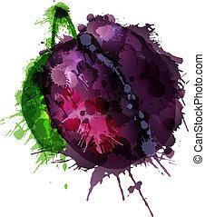prune, coloré, poire, eclabousse, fond, fait, blanc