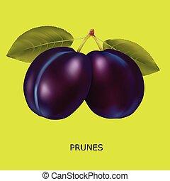 prune, fond jaune