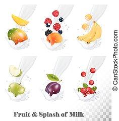 prune, splash., icônes, grand apple, collection, lait, fruit...