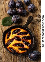 prune, tarte, rustique, fonte, table