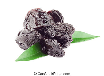 Prune with Green Leaf - Beautiful issolated prunes on white ...