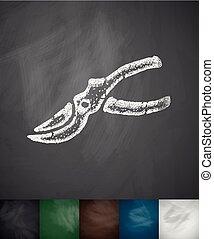 pruner icon. Hand drawn vector illustration. Chalkboard...