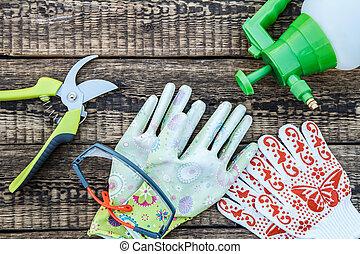 Pruner, pressure sprayer, garden gloves and protective glasses on wooden board.