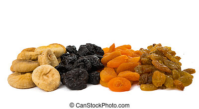 prunes, figs, dried apricots isolated on white background