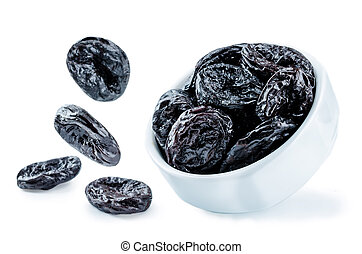 Prunes fruits in a bowl isolated. toning. selective focus