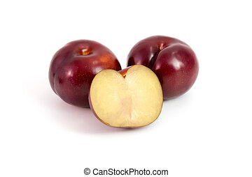 Prunes Plum fruit isolated on white