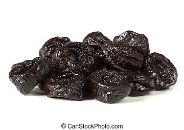 Prunes - Sweet pitted prunes, isolated on white with soft...
