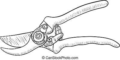 Pruning Shear, Gardening Tool, Drawing, Vector illustration