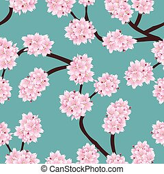 Prunus serrulata Outline - Cherry blossom, Sakura on Blue...