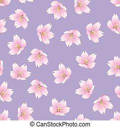 Prunus serrulata Outline - Cherry blossom, Sakura on Purple...