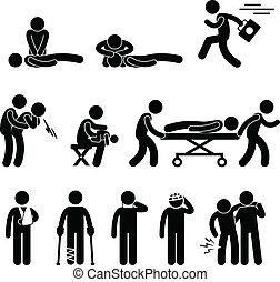 první pomoc, záchrana, pohotovostní, nápověda!, cpr