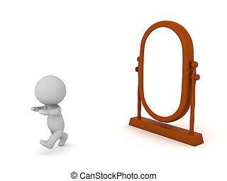 pryč, 3, charakter, běh, zrcadlit se