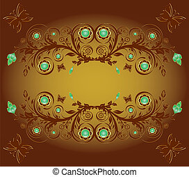 prydnad, illustration, fjärilar, vektor, bakgrund, blommig