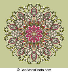 prydnad, mandala., pattern., runda