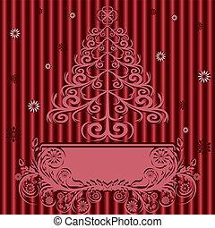 prydnad, träd, illustration, bakgrund., vektor, silke, jul