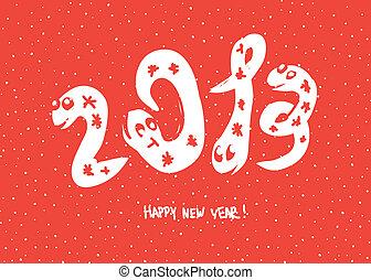 """prymitywny, doodle, rysunki, od, 2013, """"snake"""", year., wektor, tło, eps, 8."""