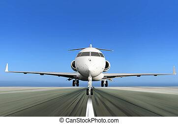 prywatny, poplamić ruch, wpływy, gagat, od, samolot