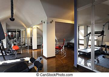 prywatny, sala gimnastyczna, dom