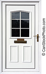 przód, biały, drzwi