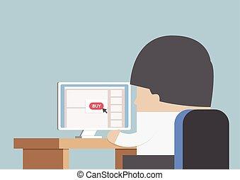 przód, biznesmen, komputer, shopping online