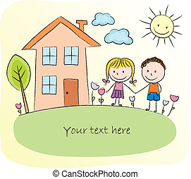 przód, dom, dzieciaki, interpretacja