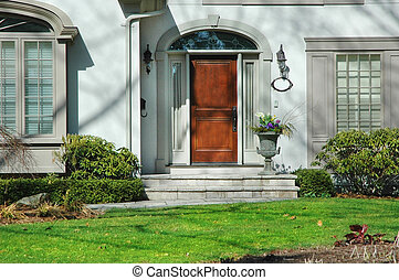 przód, dom, wejście