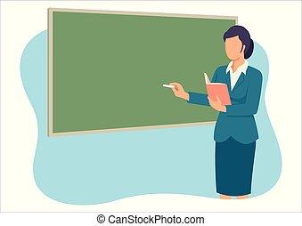 przód, nauczanie, nauczyciel, pokój, klasa
