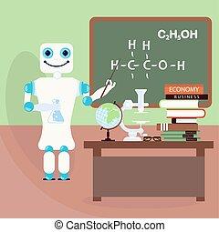 przód, nauczyciel, robot, deska