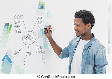 przód, pióro, whiteboard, samiec, artysta