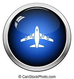 przód, samolot, prospekt, start, ikona