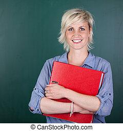 przód, skoroszyt, kobieta, chalkboard