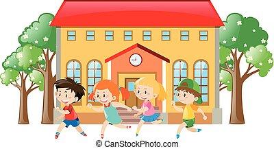 przód, szkoła, wyścigi, dzieci