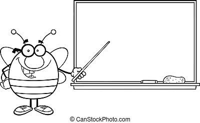 przód, tablica, konturowany, pszczoła