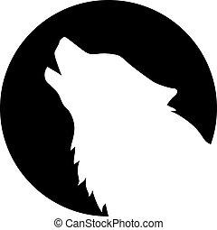 przód, wycie, głowa, wilk, księżyc