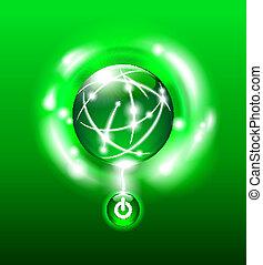 przeć, energia, zielony, guzik