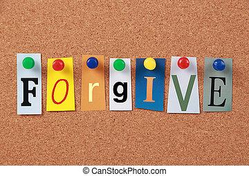 przebaczać, jednorazowe słowo