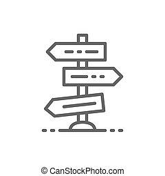 przecięcie się, znak, albo, crossroads, handel, icon., skrzyżowanie dróg, kreska, droga