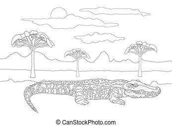 przeciw, dziki, kolorowanie, kwestia, krokodyl, chmury, sky., toothy, drzewa, tło, zasłona, adults, dzieci, zwierzę, słońce, krajobraz, książka