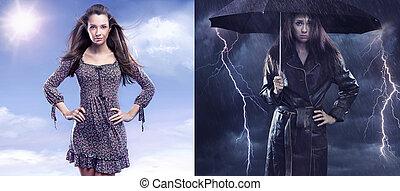 przeciw, kobieta, fotografia, smutny, jesień, wiosna, konceptualny, dama