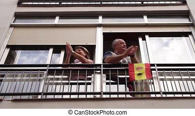 przeciw, para, poparcie, okno, starsze ludzie, coronavirus, ...