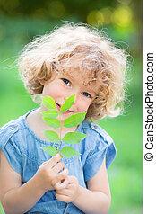 przeciw, roślina, zielony, młody, tło