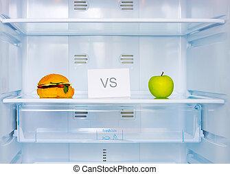 przeciw, sandwicz, jabłko