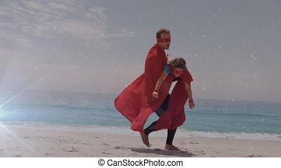 przeciw, syn, superhero, jarzący się, plaża, kostium, lekki...