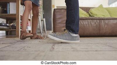 przed, amerykanka, afrykanin, córka, feet, sekcja, taniec, ...