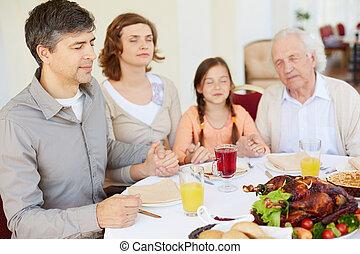 przed, obiad, modlący się, świąteczny